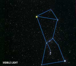 The constellation Orion in visible light and infrared light.
